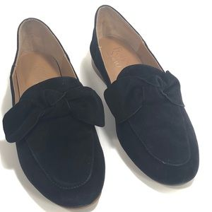 Franco Sarto Black Suede Abbys Bow Detail Loafer